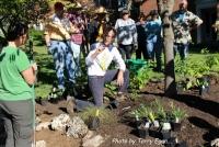 Scott Woodbury demonstrating how to plant