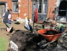 Mulching the plants is the final step of the Landscape Challenge