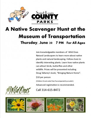 Flyer for the native plant scavenger hunt at the Museum of Transportation, June 20