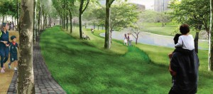 Proposed London planetrees along the walkway