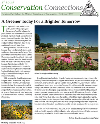 September issue of Conservation Connections newsletter with article on Operation Brightside garden