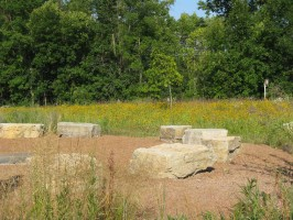 Sitting rocks in the outdoor meeting area