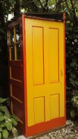 Garden shed made of recycled doors - outside view