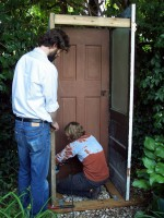 Garden shed made of recycled doors - in progress