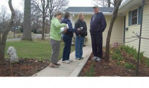 Reviewing ideas in a homeowner's front yard