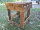 Completed rain barrel stand