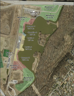 Aerial map of the Mallard Lake restoration project