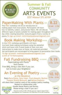Flyer of upcoming events at McKinley Meadows