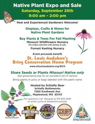 Flyer for the native plant sale at Schlafly Bottleworks on September 26, 2015