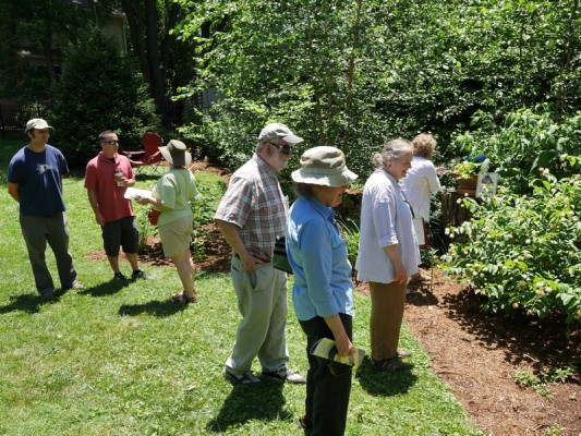 Native Plant Tour attendees explore a yard