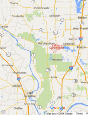 Carbondale, Illinois and surrounding area map