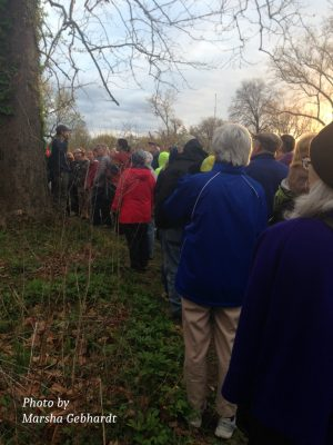 """Josh and group at one of the """"gather-and-listen"""" locations"""