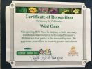 Certificate of Recognition presented to Wild Ones
