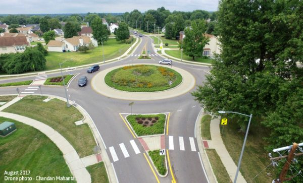 Overhead view of native plants in traffic roundabout